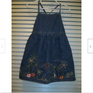 Girls Gymboree Denim Embroidered Dress Size 3T